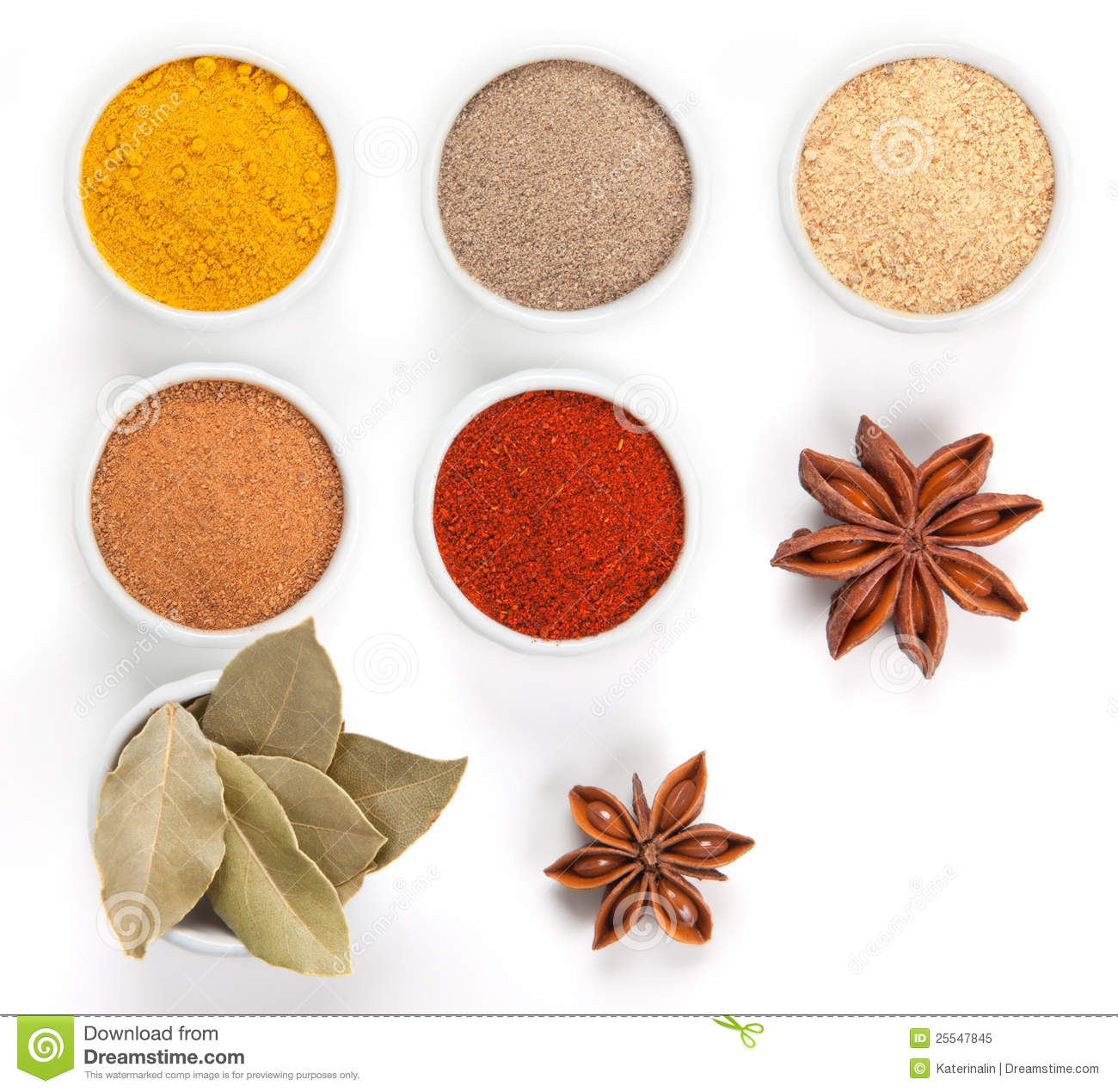 Spices In White Bowls On White Background  Paprika Curry Black
