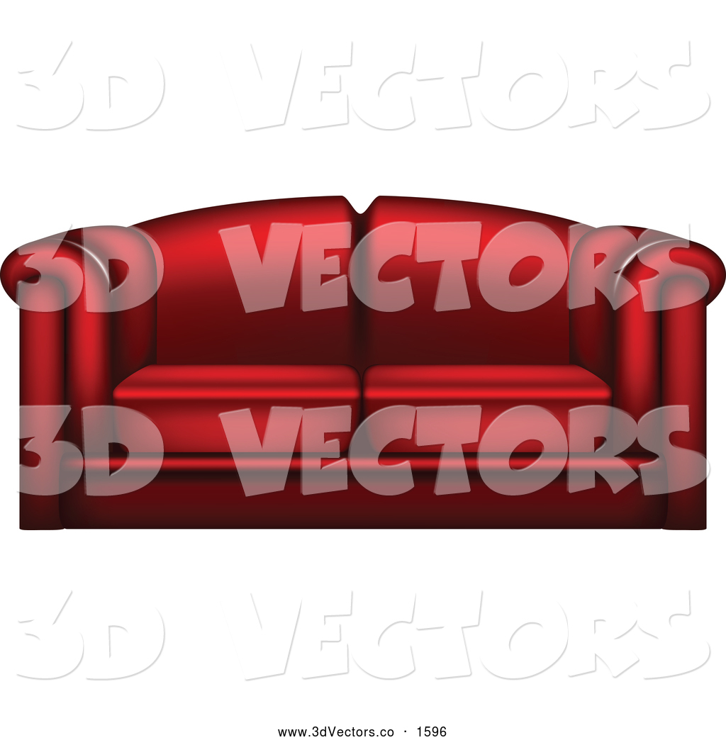 Vector Clipart Of A 3d Red Couch By Vectorace    1596