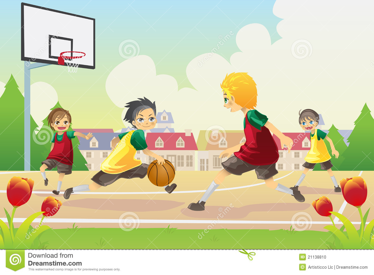 Vector Illustration Of Kids Playing Basketball In The Suburban Area