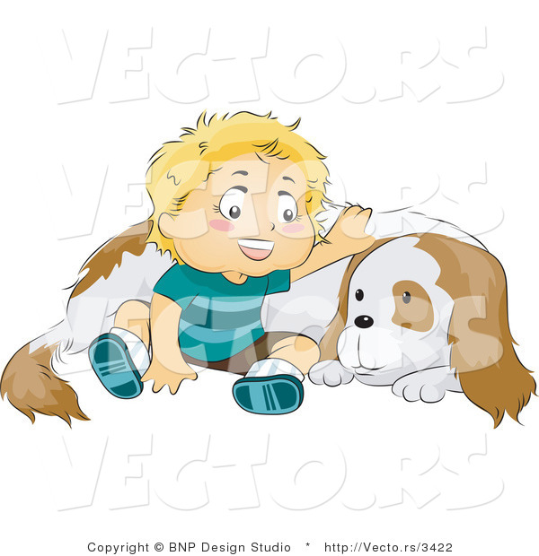 Vector Of Happy Baby Boy Sitting By And Petting His Dog By Bnp Design