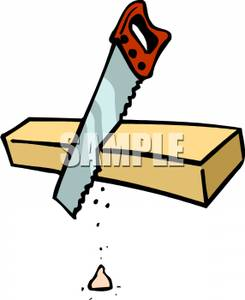 Clipart Image Of A Saw Cutting Wood