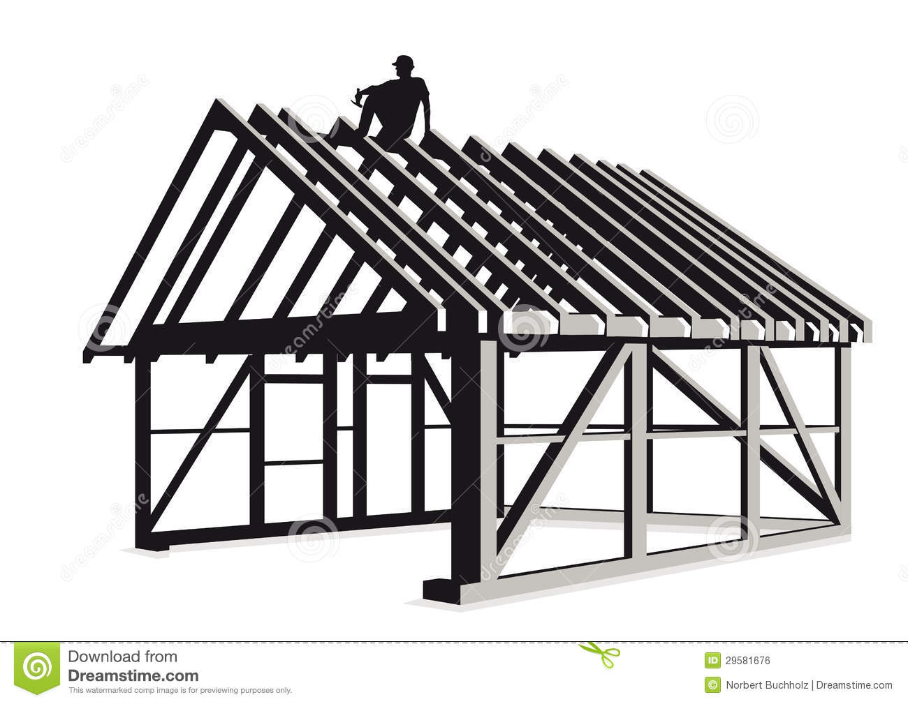 Illustration Of Wooden Frame For Walls And Roof Of A House Under