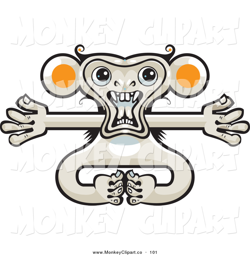 Larger Preview  Clip Art Of A Crazy Monkey With Outstretched Arms By