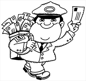 Mailman Clipart Black And White Free Postman C