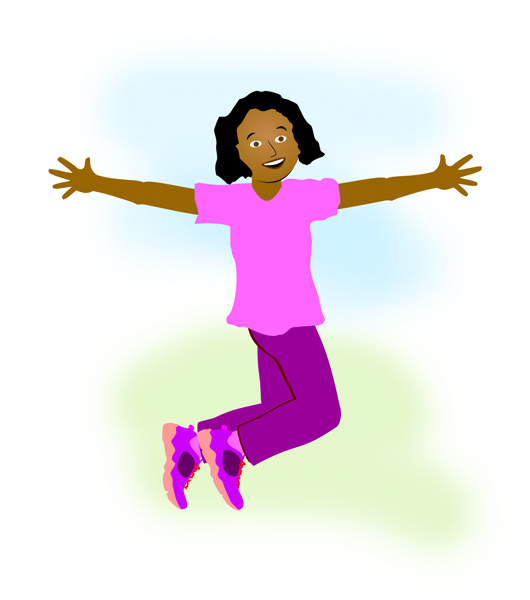 Of A Happy Girl Jumping For Joy  Original Free Clip Art Produced By