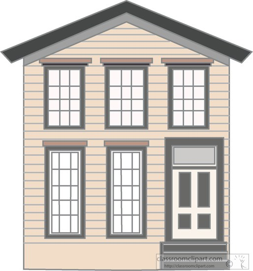 Old Wood Frame Two Story House Clipart 322   Classroom Clipart