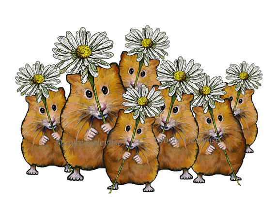 Printable Clip Art Large Crowd Of Cute Hamsters Holding Daisy Flowers