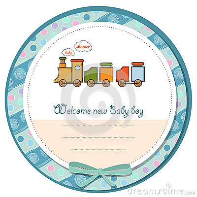 Baby Boy Shower Card With Toy Train Royalty Free Stock Photos   Image