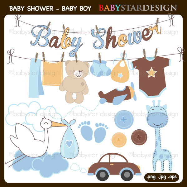 Baby Shower For Baby Boy Clipart