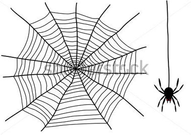 Black Spider And Spider Web Isolated On The White Background 59202874