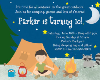 Camping Birthday Party Invitation Boys Sleepover Campout Boys Slumber