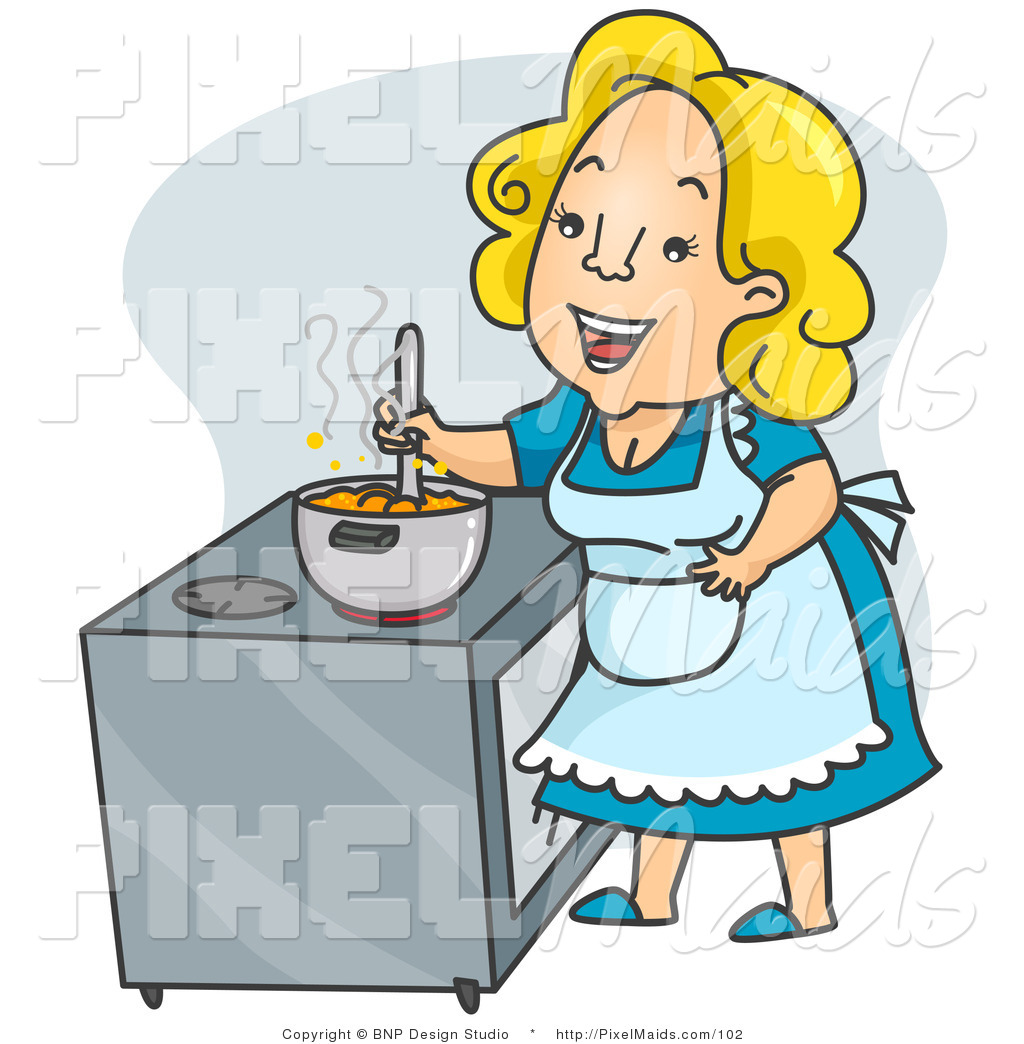 Clipart Of A Happy Mother Cook Or Housewife Stirring Stew On A Stove