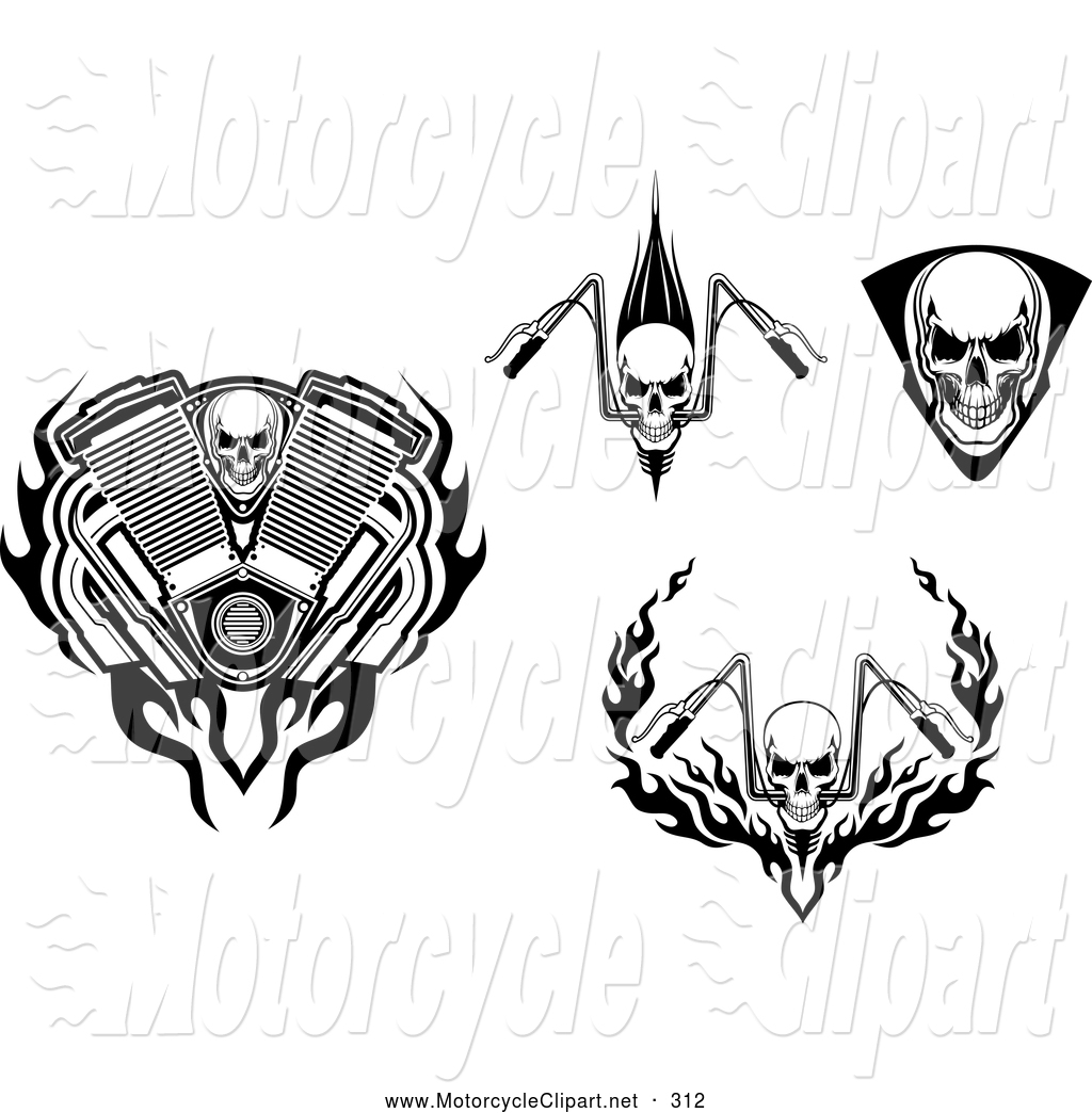 Clipart Of Skulls And Motorcycle Bars By Seamartini Graphics