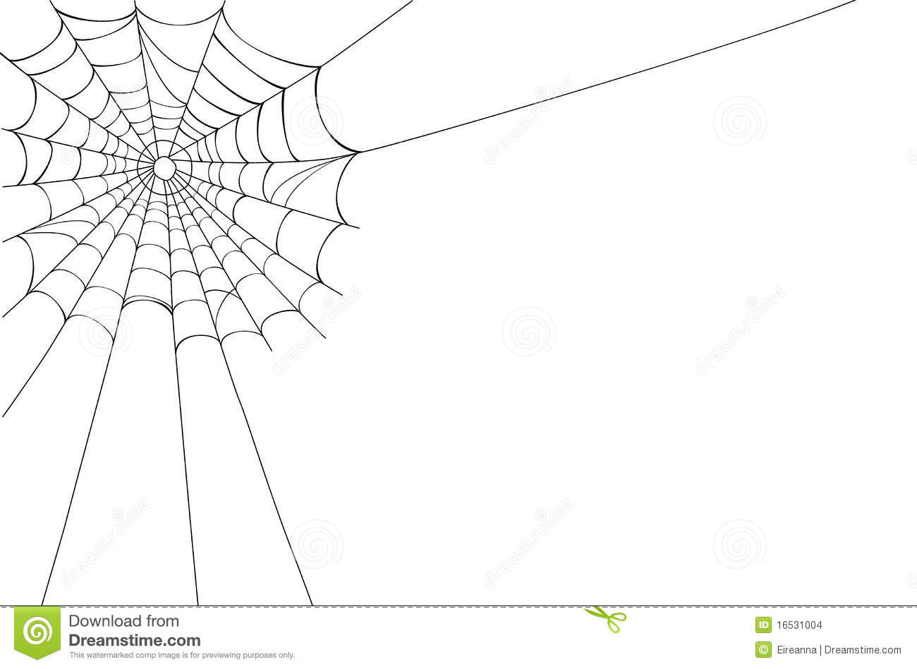 Creepy Spider Web In The Corner  Isolated Over White Background With