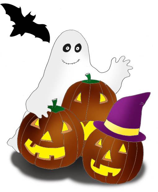 Halloween Clip Art Ghost Bat Pumpkins