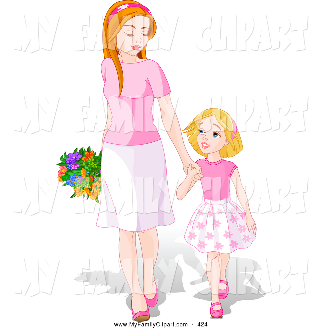 Happy Young Daughter Holding Hands And Walking With Her Mom On Mother