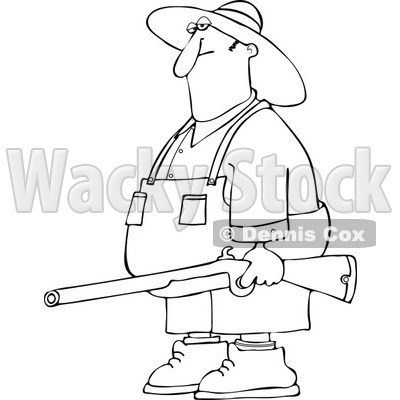 Hillbilly Man Carrying A Rifle   Royalty Free Vector Clipart   Djart