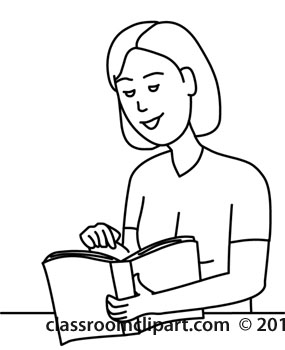 People   Woman Reading Book 12412 Outline   Classroom Clipart