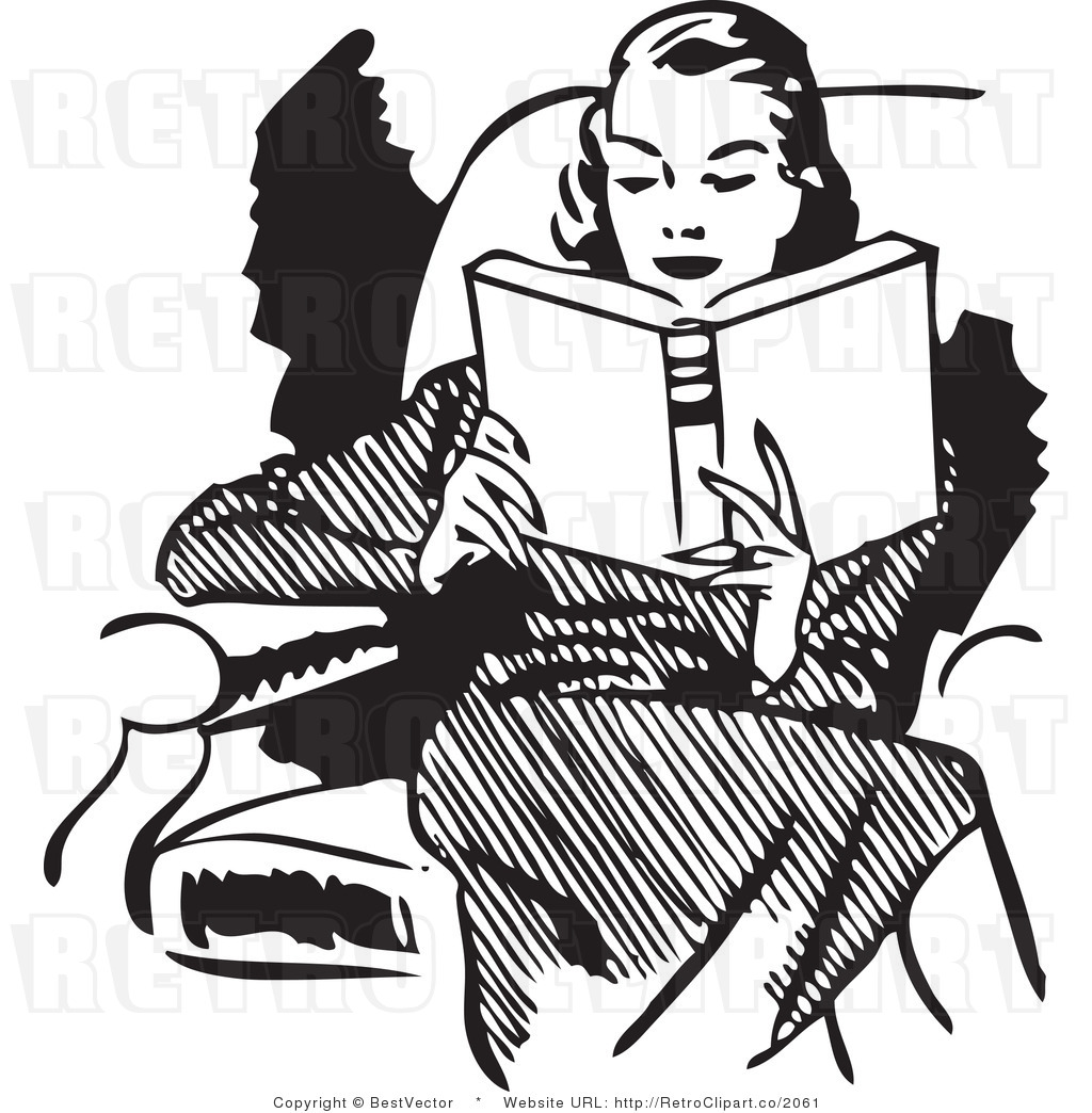 Retro Vector Clip Art Of A Woman Reading Book While Sitting In A Chair