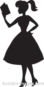 Silhouette Of A Woman Reading A Cookbook Clip Art  Clipart