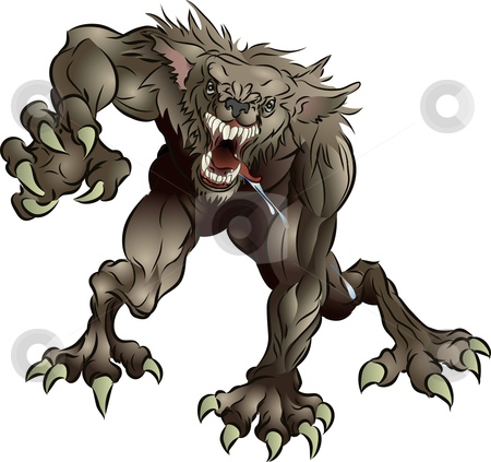 Snarling Scary Werewolf Stock Vector Clipart A Mean Snarling Scary