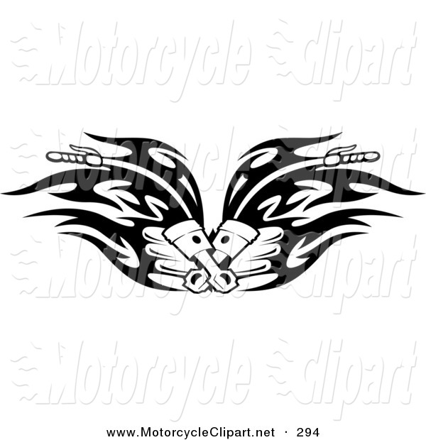 Tribal Flaming Motorcycle Handlebars Clip Art Seamartini