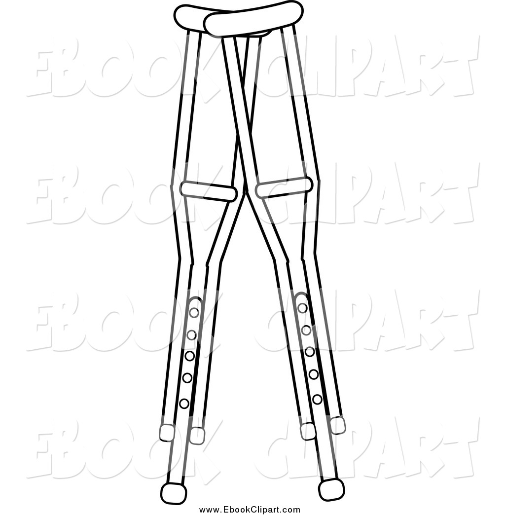 Vector Clip Art Of Black And White Medical Crutches By Pams Clipart