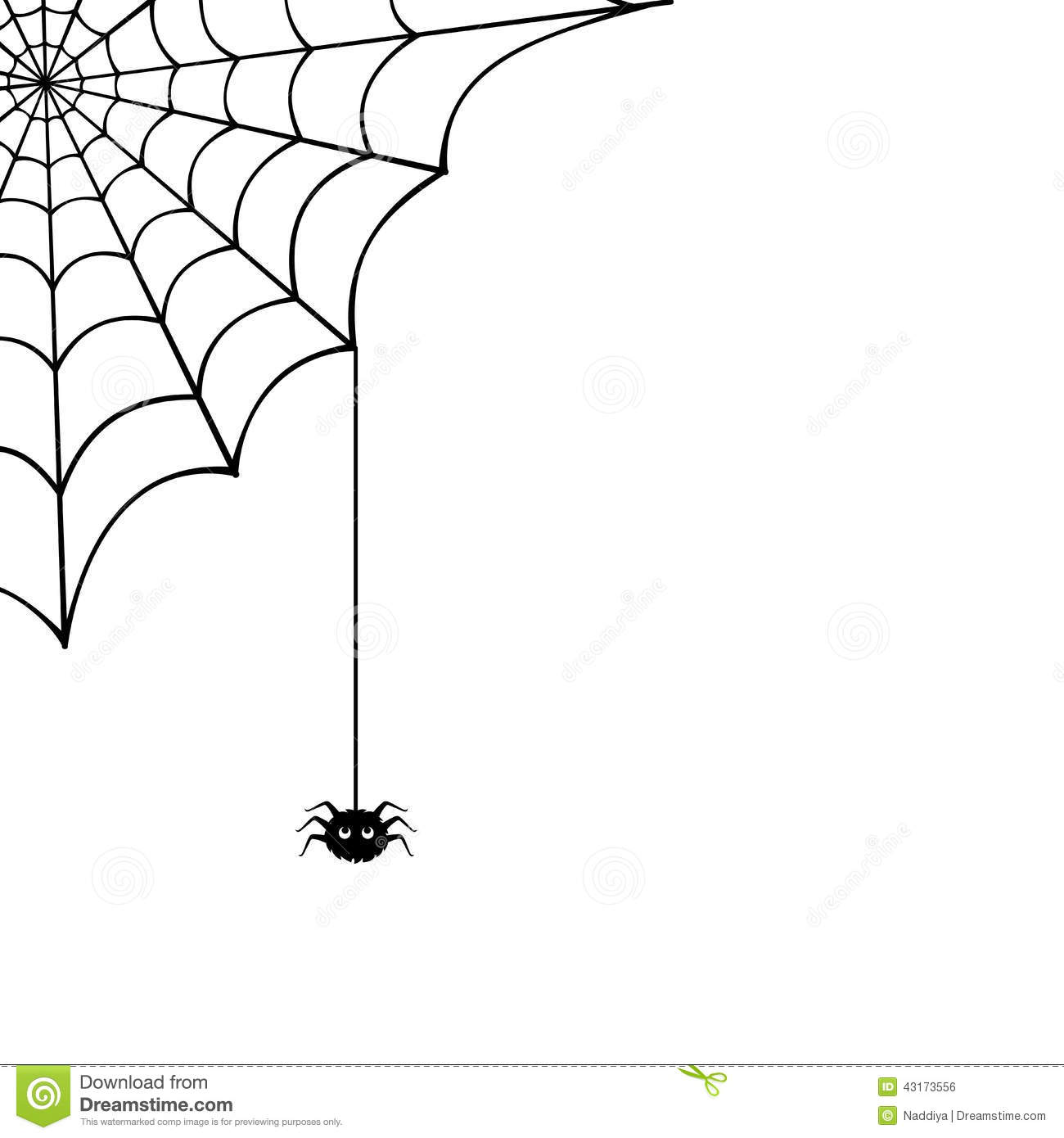 Vector Spider Web And Small Spider On A White Background