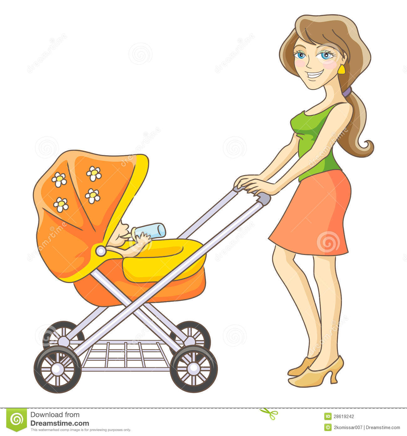Young Mother And Baby Stroller  Happy Mom And Baby  Isolated Vector