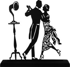 1920 S Dancing Couple Handmade Display Wood Silhouette Decoration