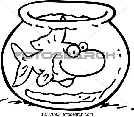 Clipart Of  Bowl Cartoons Fish Fishbowl Goldfish Pet U15376904