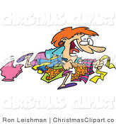 Clipart Vector Of A Crazy Black Friday Shopper Woman Running To Get