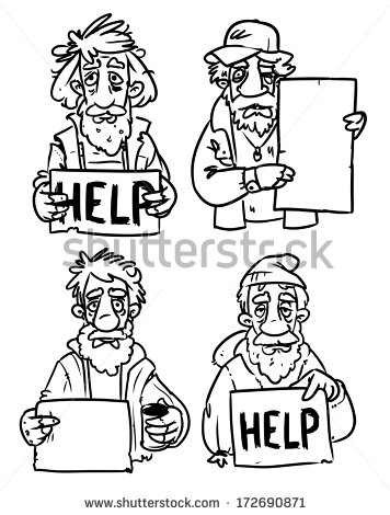 Homeless Man Clipart Black And White Homeless People With Help