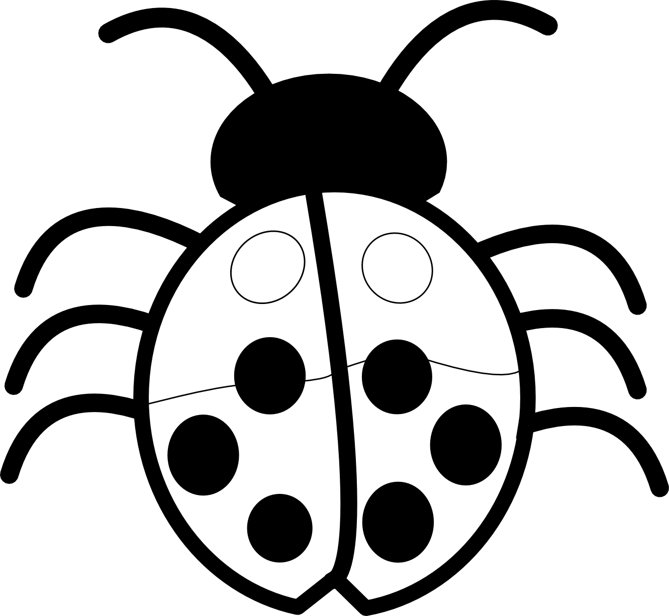 Ladybug Outline Black And White   Clipart Best