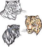 Totems   Panther Tiger Sonnenkollektoren Zeichen   Schilder Stock