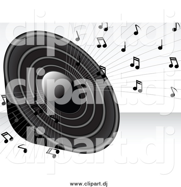 Vector Clipart Of A Grayscale Loud Radio Speaker Blaring Loud Music