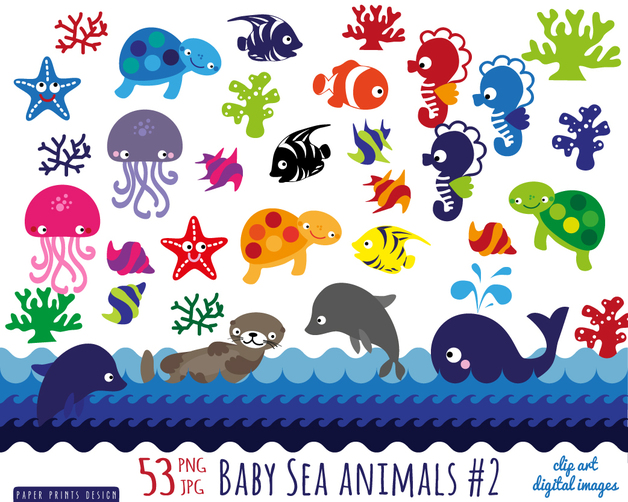 Birthday Cards   53 Diy Baby Shower Sea Animals Printable Clipart