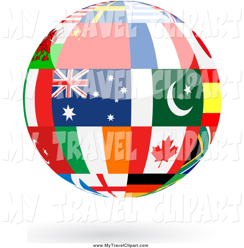 Clipart Of A Floating Shiny Globe Of International Flags