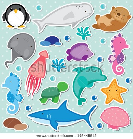Sea Animals Clip Art   Stock Vector
