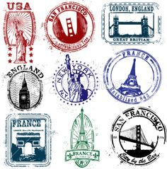 Travel Stamp More Stylized Stamps Vector Art Royalty Free Travel