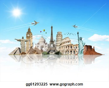Travel The World Monuments Concept Made With Photoshop Cs5  Clipart