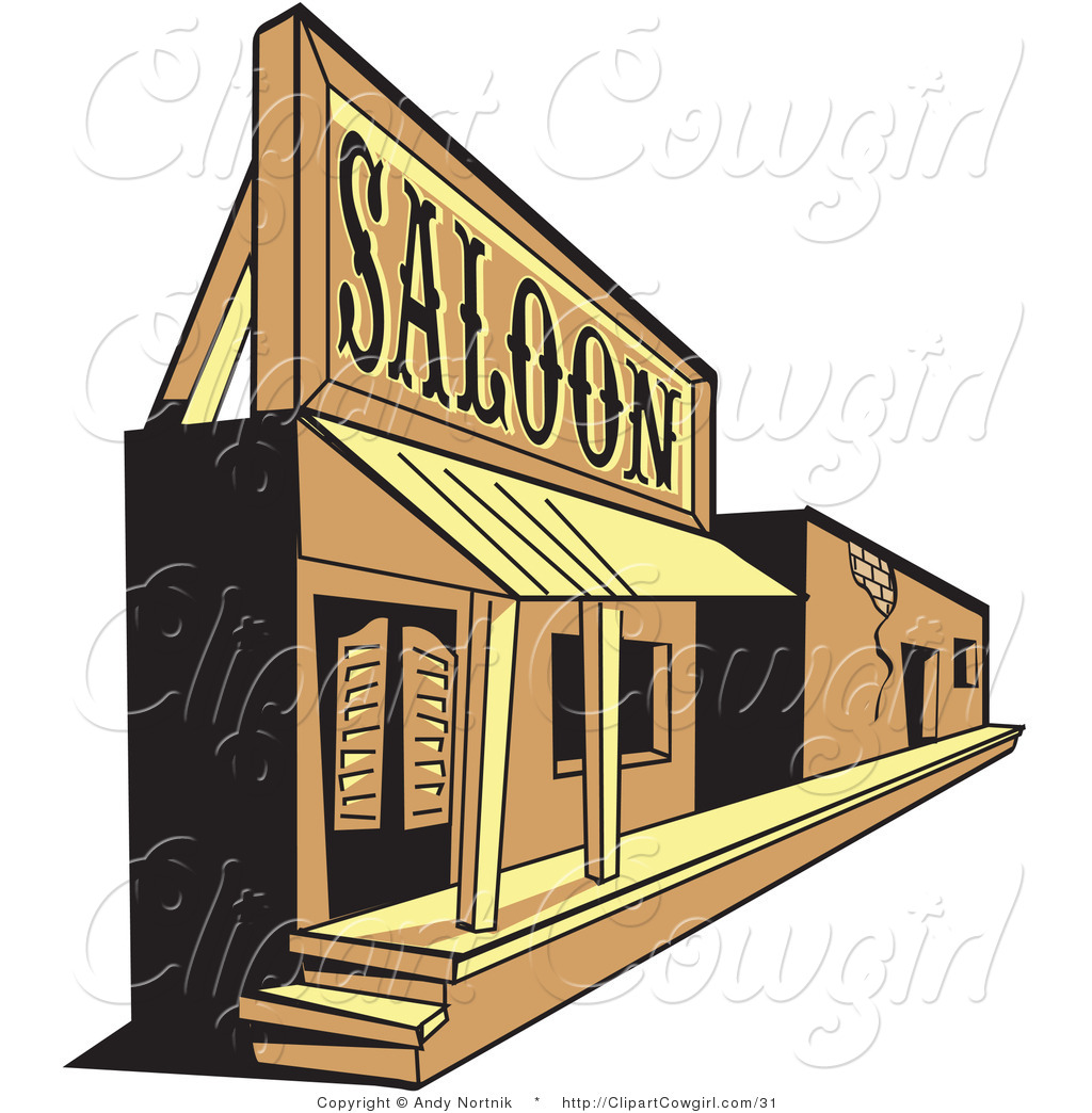 Vector Clipart Of A Wild West Ghost Town Saloon And Facade By Andy