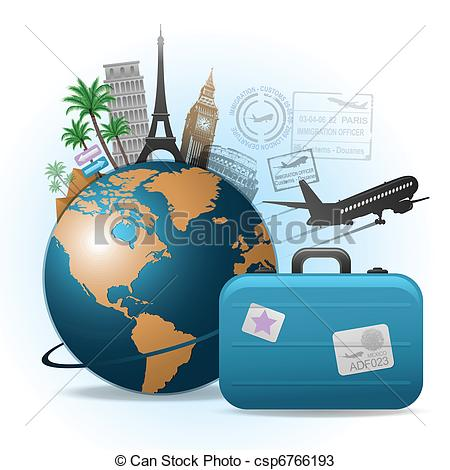 Vectors Of Travel Background   Travel Background Concept Csp6766193