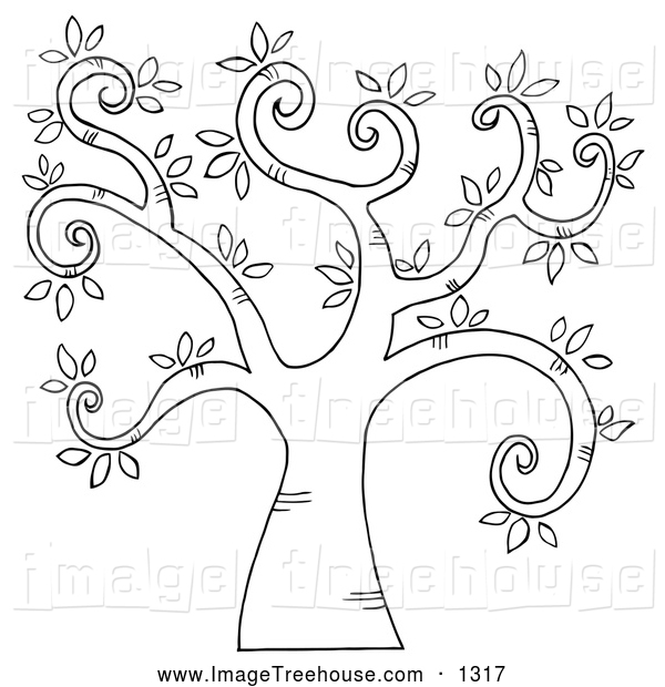 And White Curly Branched Tree Tree Clip Art Hit Toon