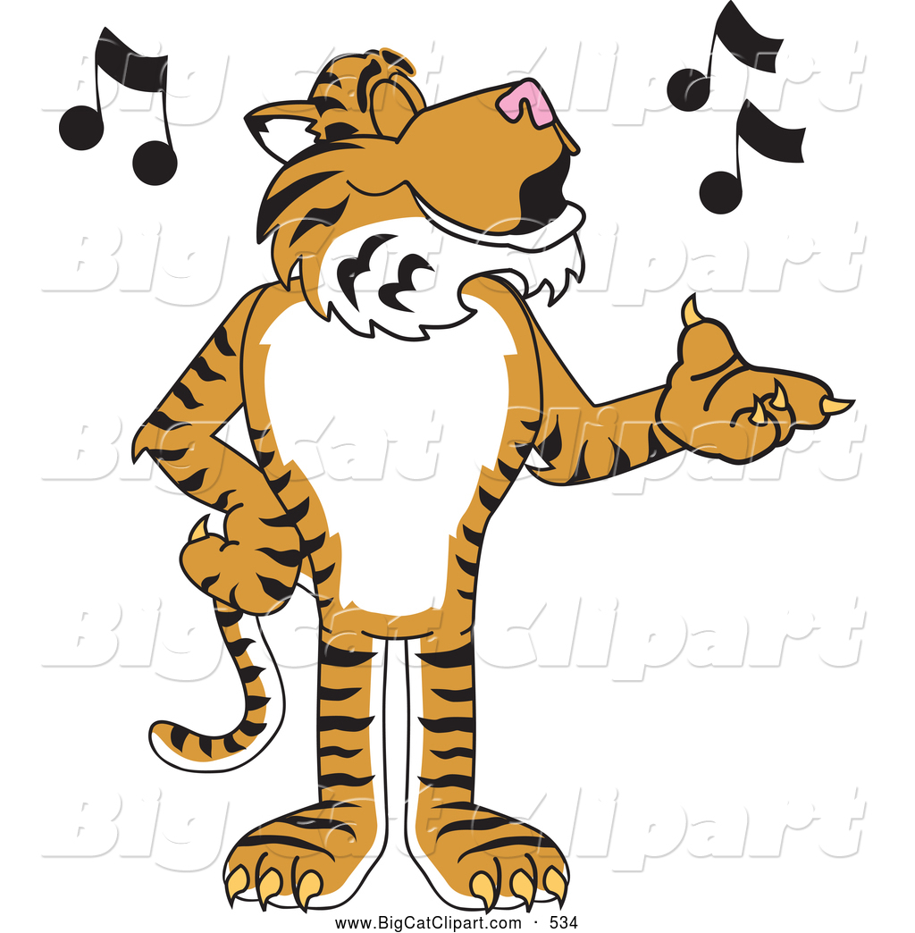 Big Cat Cartoon Vector Clipart Of A Striped Tiger Character School