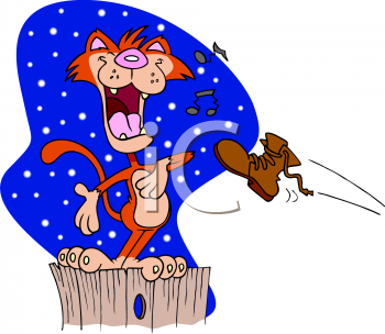 Cartoon Clip Art Picture Of An Alley Cat Singing On A Fence At Night