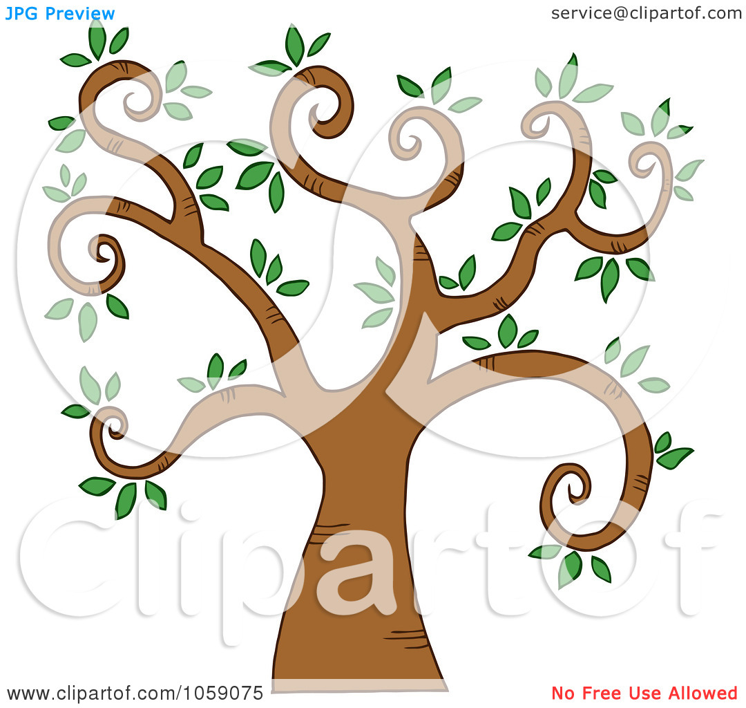 Clip Art Illustration Of A Curly Branched Tree Logo   5 By Hit Toon