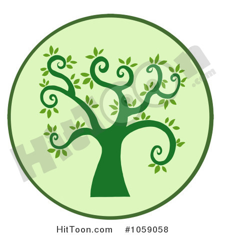 Clip Art Illustration Of A Curly Branched Tree Logo   7  1059058