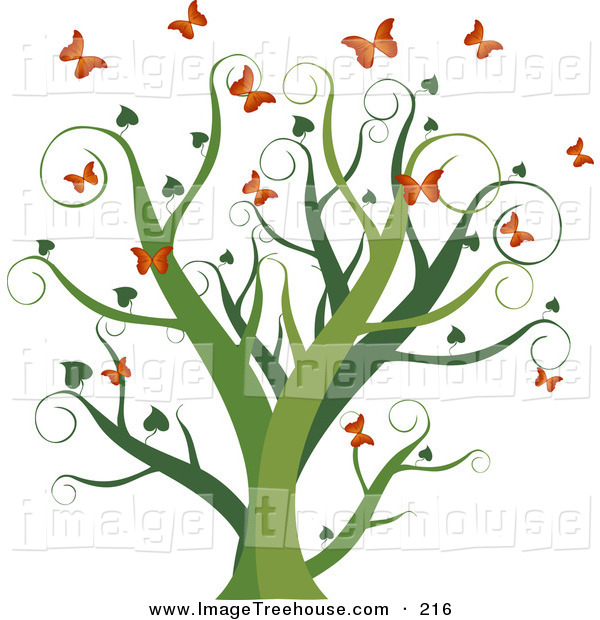 Clipart Of A Curly Green Growing Tree With Heart Leaves Surrounded By