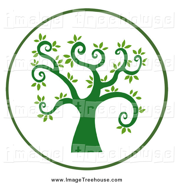 Curly Branched Tree Circle Tree Clip Art Hit Toon